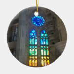 Orange and Blue Stained Glass Round Ceramic Decoration