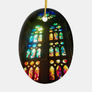 Orange and Blue Stained GlassOval Christmas Ornament