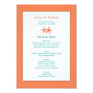 Orange and Blue Starfish Couple Wedding Menu 13 Cm X 18 Cm Invitation Card