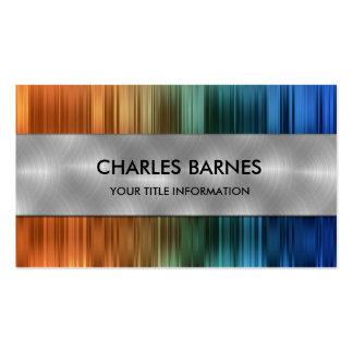 Orange and Blue Stripe Steel Business Card