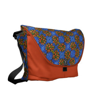 Orange And Blue Sunflowers Pattern Courier Bag