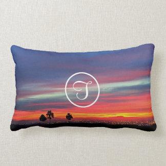 Orange and blue sunrise photo custom monogram lumbar cushion