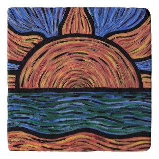 Orange And Blue Sunset Trivets