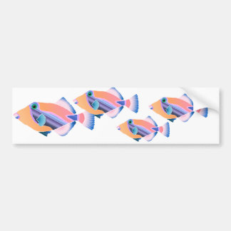 Orange and Blue Tropical Fish Bumper Stickers
