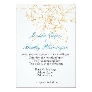 "Orange And Blue Wedding Invitations 5"" X 7"" Invitation Card"