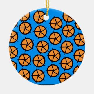 Orange and blue wheels print round ceramic decoration