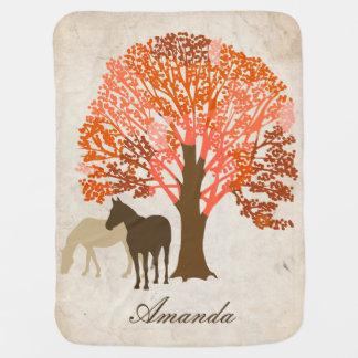 Orange and Brown Autumn Horses Baby Blanket