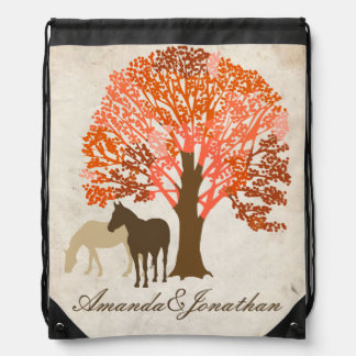 Orange and Brown Autumn Horses Drawstring Bag