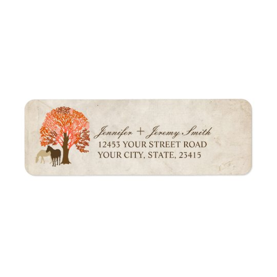 Orange and Brown Autumn Horses Return Address Label