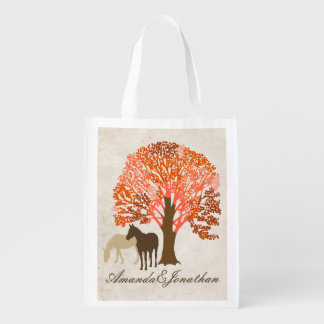 Orange and Brown Autumn Horses Reusable Grocery Bag