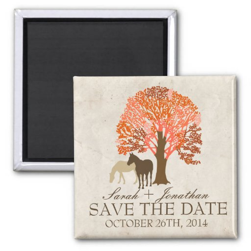 Orange and Brown Autumn Horses Save The Date Magnet