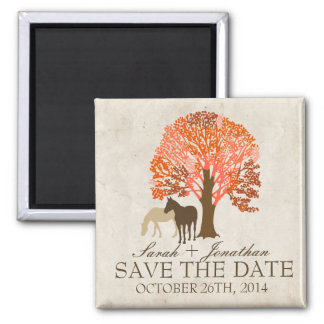 Orange and Brown Autumn Horses Save The Date Square Magnet