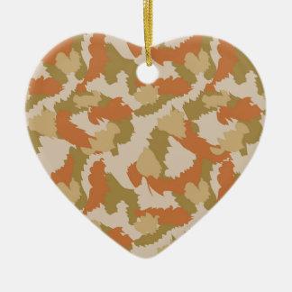 Orange and Brown Camouflage Ceramic Heart Decoration