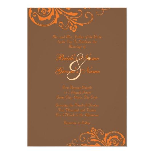 Orange and Brown Chic Wedding Invitation