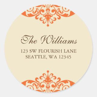 Orange and Brown Flourish Scroll Address Label