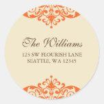 Orange and Brown Flourish Scroll Address Label Round Sticker