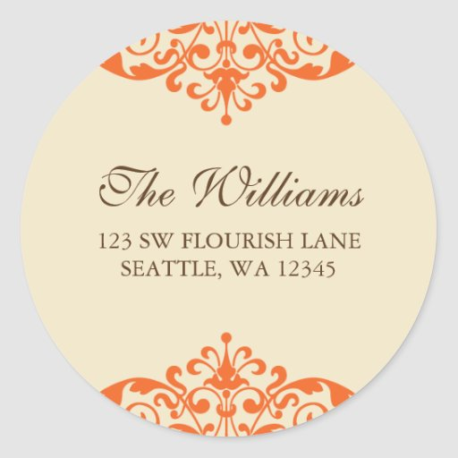 Orange and Brown Flourish Scroll Address Label Round Sticker