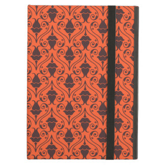Orange and Brown Fuchsia Floral Damask Pattern Cover For iPad Air
