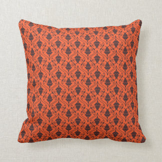 Orange and Brown Fuchsia Floral Damask Pattern Cushion