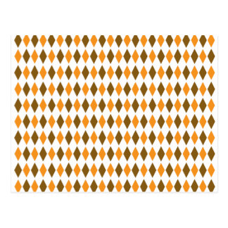 Orange and Brown Retro Diamond Pattern Design Postcard