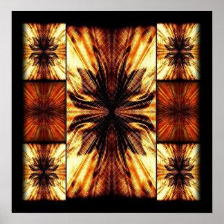 Orange And Brown Retro Pattern Print