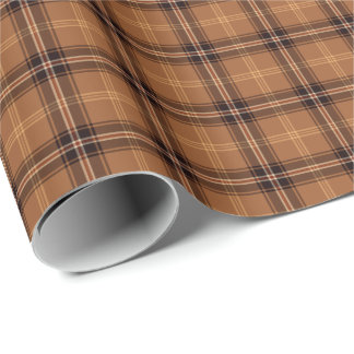 Orange and Brown Rustic Plaid Wrapping Paper
