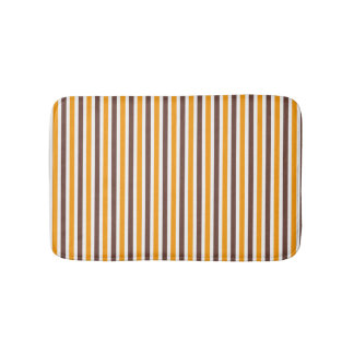 Orange and brown striped pattern spring colors bath mat
