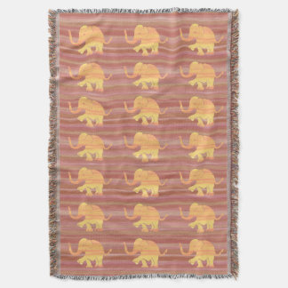 Orange and Brown Tones Elephant Pattern Throw Blanket