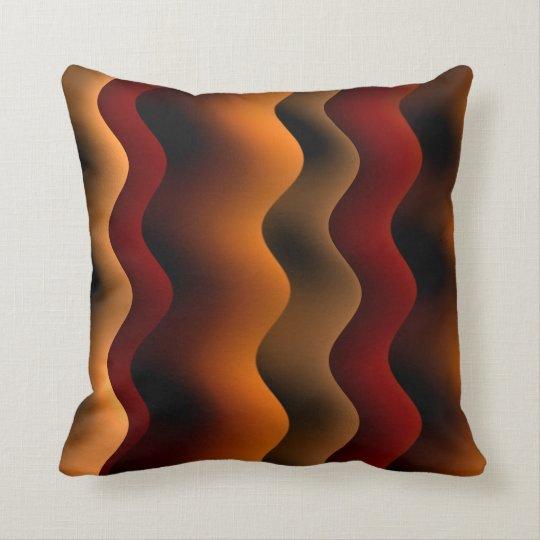 Orange and Brown Wavy Stripes Cushion