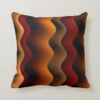 Orange and Brown Wavy Stripes Throw Pillow