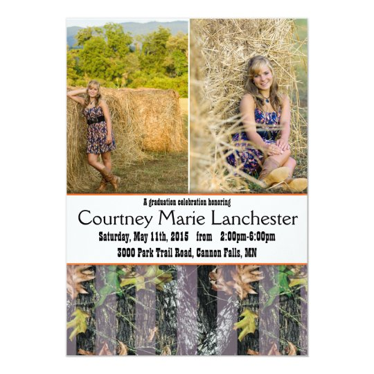 Orange and Camouflage Graduation Announcement