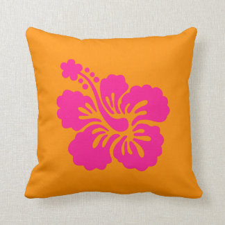 Orange and Deep Pink Hibiscus Cushion