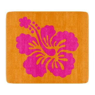 Orange and Deep Pink Hibiscus Cutting Board