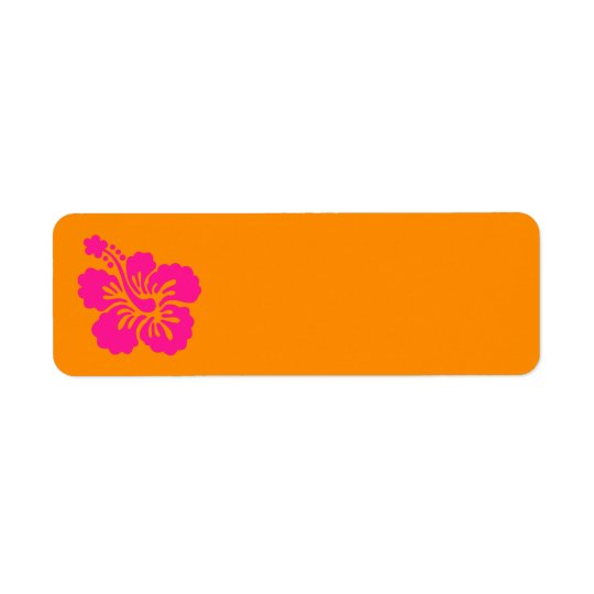 Orange and Deep Pink Hibiscus Return Address Label