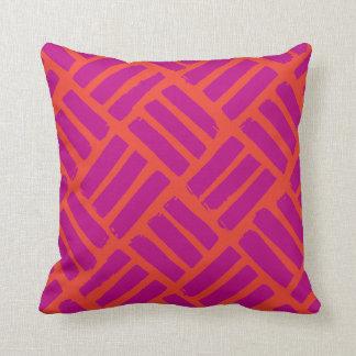Orange and Fuchsia Ink Strokes Grid Throw Pillow