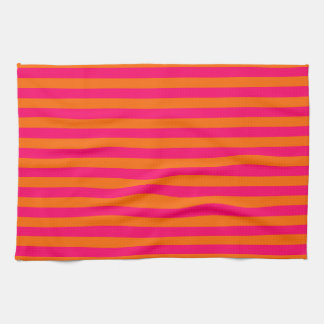 Orange and Fuchsia Stripe Tea Towel