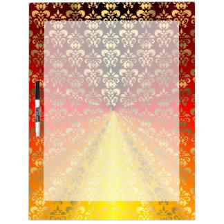 Orange and gold  damask pattern dry erase board