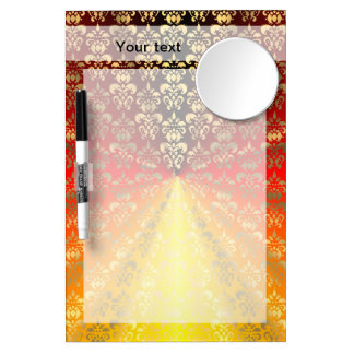 Orange and gold  damask pattern dry erase board with mirror