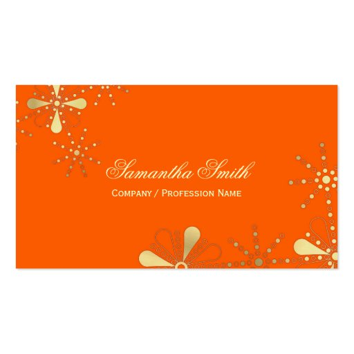 Orange and Gold Floral Indian Inspired Design Business Cards
