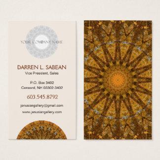 Orange and Gold Foliage Mandala Kaleidoscope Business Card