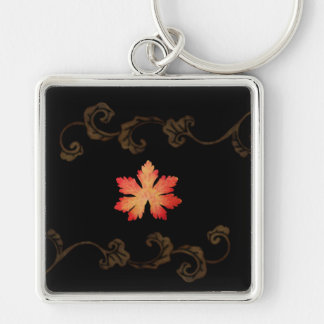 Orange And Gold  Leaves Silver-Colored Square Key Ring