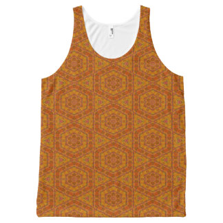 Orange and Gold Mosaic Pattern All-Over Print Tank Top
