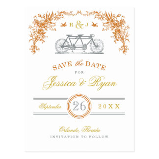 Orange and Gold Vintage Bicycle Save the Date Postcard