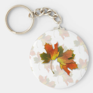 Orange And Golden  Autumn Leaves Basic Round Button Key Ring