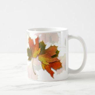 Orange And Golden  Autumn Leaves Basic White Mug
