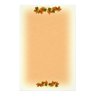 Orange And Golden  Autumn Leaves Custom Stationery