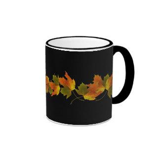Orange And Golden  Autumn Leaves Ringer Mug