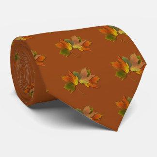 Orange And Golden  Autumn Leaves Tie