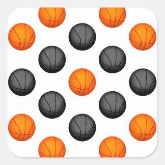 Orange and Gray Basketball Pattern Square Sticker