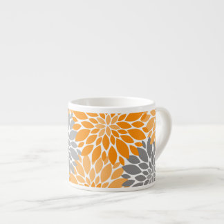 Orange and Gray Chrysanthemums Floral Pattern